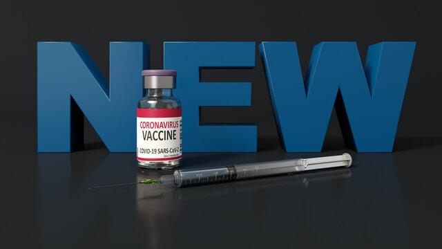 New version of Corona virus vaccine with syringe