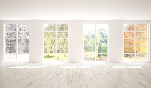 Hight resolution white empty room with fours seasons in window. 3D illustration