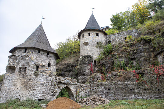 Beautiful old castle towers. Stone architectural structure