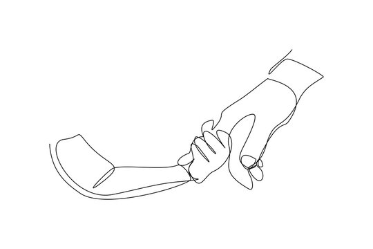 Continuous line drawing of parent giving hand to his child. Single one line art of father and mother care. Parental concept vector illustration