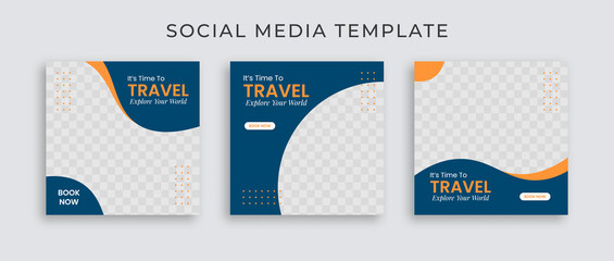 Fototapeta Editable template post for social media ad. Instagram template post. web banner ads for travel promotion .design with blue and yellow color.