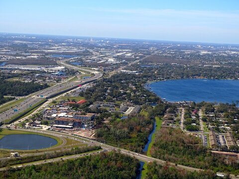 North America, United States, Florida, Orange County, aerial view of the greater Orlando area