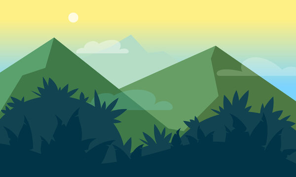 Mountains, jungles scenic landscape flat style illustration. Futuristic gradient verdant hills, mountains on soft sunshine sky background. Fantasy vector backdrop design template for game, web, app.