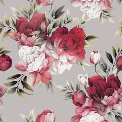 Seamless floral pattern with peony flowers on summer background, watercolor illustration. Template design for textiles, interior, clothes, wallpaper