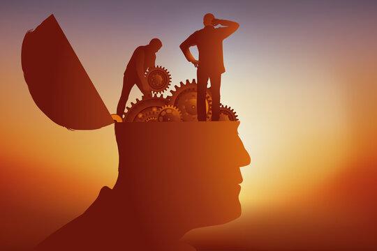 Concept des maladies mentales, avec une tête d'homme dont le cerveau a été remplacé par des engrenages, que deux scientifiques tentent de réparer.