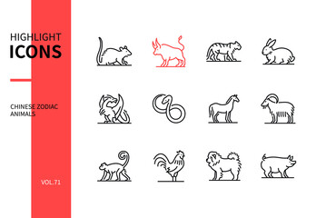 Chinese zodiac animals - line design style icons set