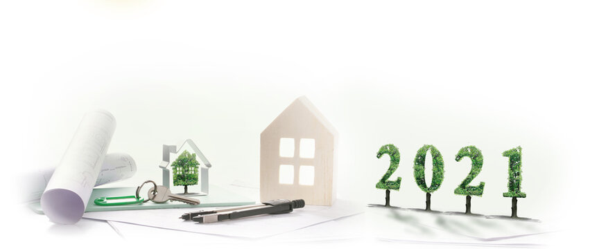 2021, maison verte, projet immobilier fond blanc