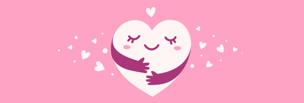 Vector cute happy heart character with hands hugging self