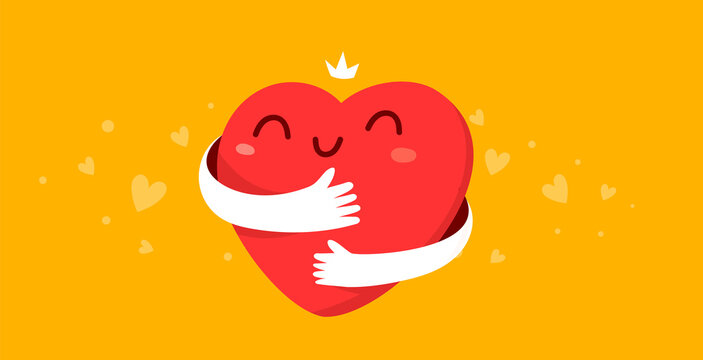 Vector cartoon cute happy heart character with smile and hands hugging self