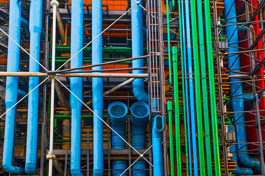 PARIS, FRANCE - October 10, 2016 : Facade of the Centre of Georges Pompidou . The Centre of Georges Pompidou is one of the most famous museums of the modern art in the world