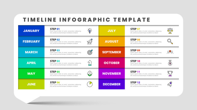 Infographic design template. Timeline concept with 12 steps