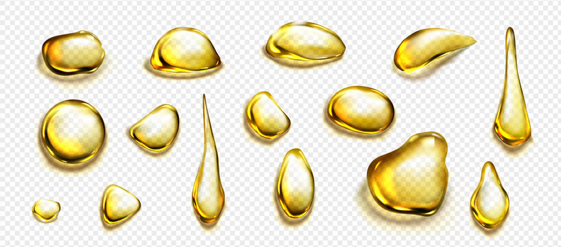 Golden drops and puddles of oil or liquid honey isolated on transparent background. Vector realistic set of gold drips of organic cosmetic or food oil, top view of clear yellow stains