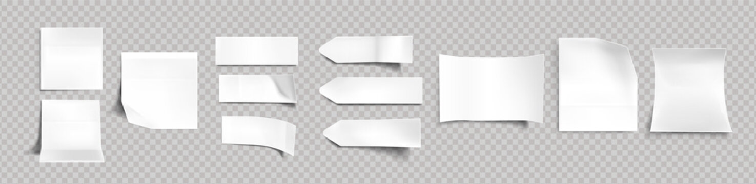 White stickers of different shapes with shadow and folded edges, tags, sticky notes for memo mockup isolated on a transparent background. Paper adhesive tape, empty blanks Realistic 3d vector set