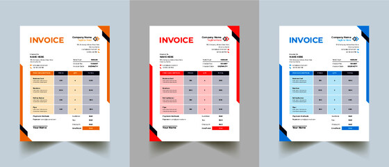Obraz Editable Modern Abstract Creative Professional Invoice template with 3 color - fototapety do salonu