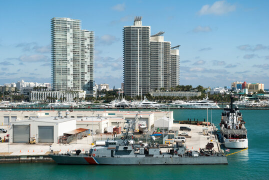 Navy Ships And Miami Beach Skyline