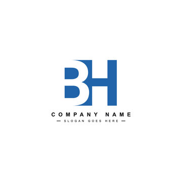 BH Minimal Logo - Vector Logo Template for Initial Letter B and H