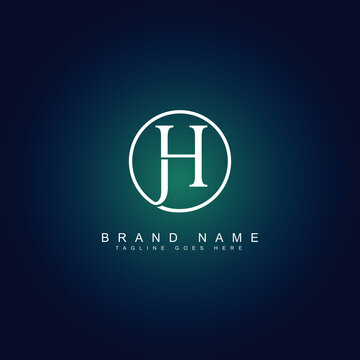 JH Minimal Logo - Vector Logo Template for Initial Letter J and H