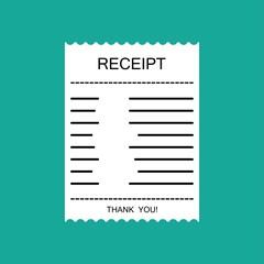 Fototapeta Receipt icon, receipt paper, check invoice, invoice, utility bills. Vector illustration. obraz