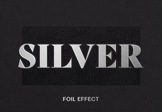 Silver Foil Text Effect Logo Mockup