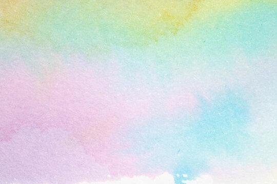 Gentle Pastel Colour Watercolour Paint Background on White Paper