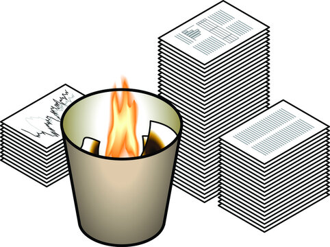 Concept: getting rid of the evidence. Piles of paperwork ready to be fed to the fire in the waste basket.