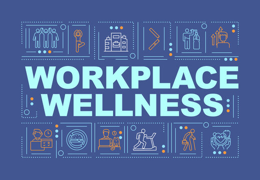 Workplace wellness word concepts banner. Support healthy life of your company employees. Infographics with linear icons on navy background. Isolated typography. Vector outline RGB color illustration