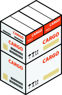 A stack of air cargo cartons of different / multiple sizes..