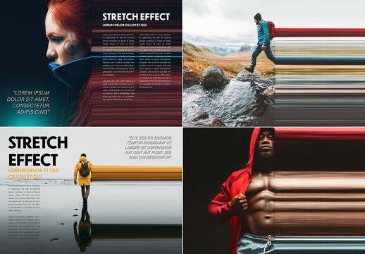 Stretched Page Layout Effect Mockup