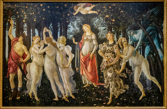 Painting Spring by Sandro Botticelli in Uffizi gallery in Florence, Italy. It is among the most visited museums in Italy, with more than 1.5 million visitors each year