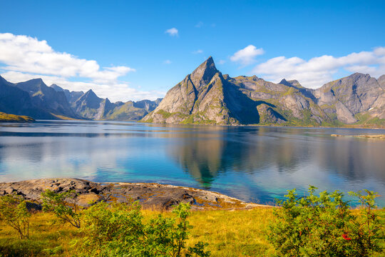 Rocky seashore in the evening. Beautiful nature of Norway. Picturesque Scandinavian landscape. Lofoten islands, Norway, Europe