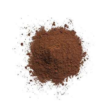 Isolated ground coffee on white background