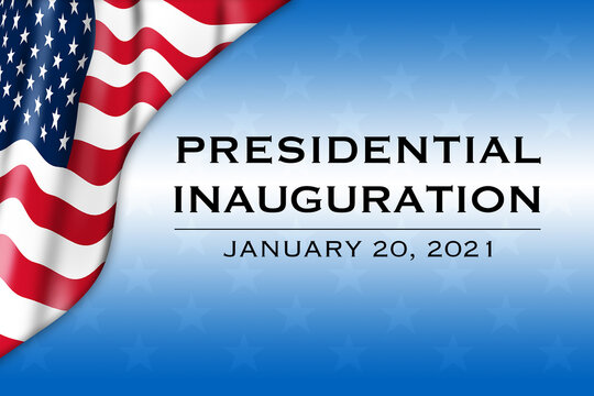 Presidential Inauguration 2021 with a USA flag - Illustration