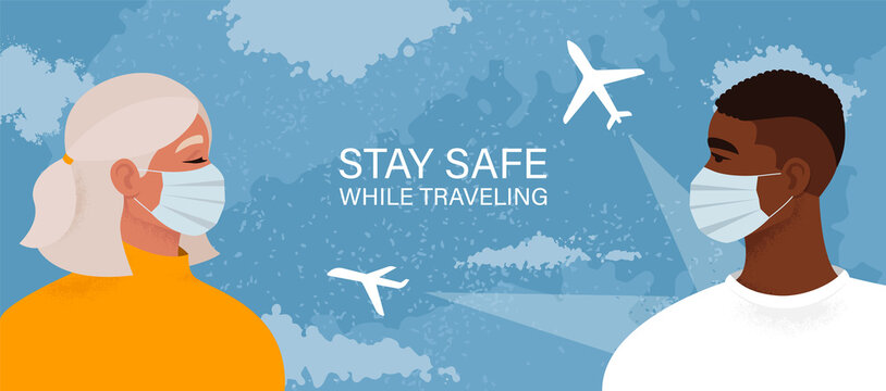 Safe travel concept. Tourists traveling during a pandemic. Man and woman wearing medical masks on the sky background with a plane. Passengers staying safe from coronavirus. Vector illustration