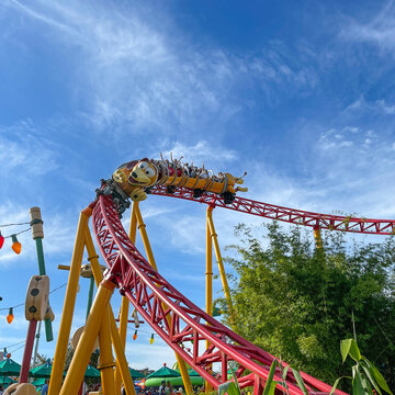 The Slinky Dog Dash roller coaster ride in Toy Story Land
