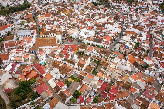 Aerila view of Monda, Malaga, Spain