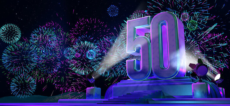 Number 50 in solid and thick form on a pedestal illuminated by 4 reflectors at night with fireworks of blue, magenta, cyan and purple color on starry night. 3d illustration