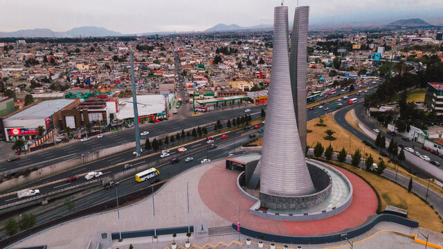Toluca city, aerial urban landscape, you can see the Bicentennial Towers, main avenues, buildings and neighboring houses 12