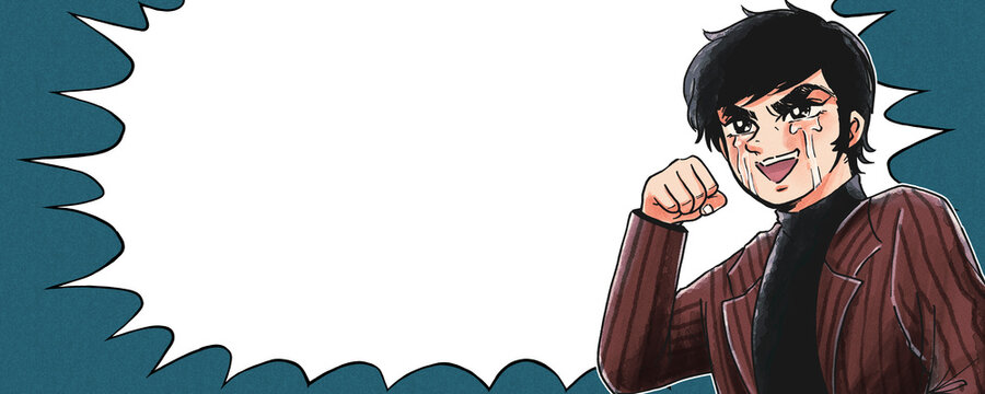 1970年代少年漫画風・昭和の熱血少年漫画風・嬉し泣きでガッツポーズ・ふきだし