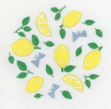 レモンと蝶の刺繍
