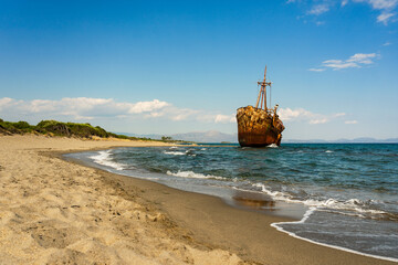 Scenic View Of Sea Against Sky With Ship Wreck