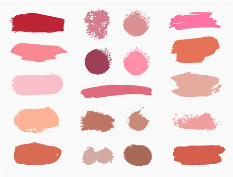 Vector set of vector swatches makeup strokes. Beauty cosmetic brush stains smear, make up lines collection, lipstick texture isolated. Hand drawn illustration