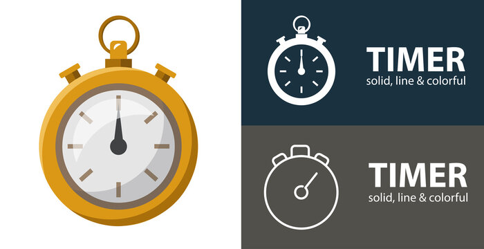timer isolated vector flat icon with stopwatch solid, line icons