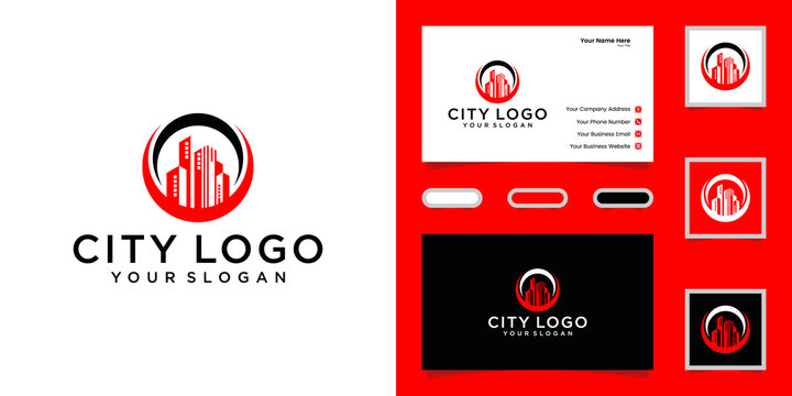 Luxury building logo with circle design template and business card