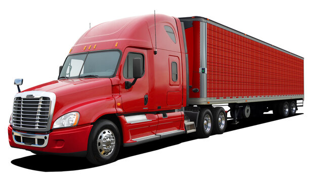 Large American modern truck in full red color isolated on white background.