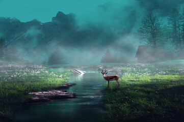 Deer in fantasy and dark moody misty landscape