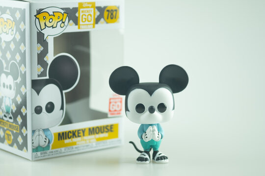 Samut Prakan, Thailand - January 15, 2021 : Funko Pop Mickey Mouse is wearing Thailand's national costume dress. A special project by The Walt Disney Company