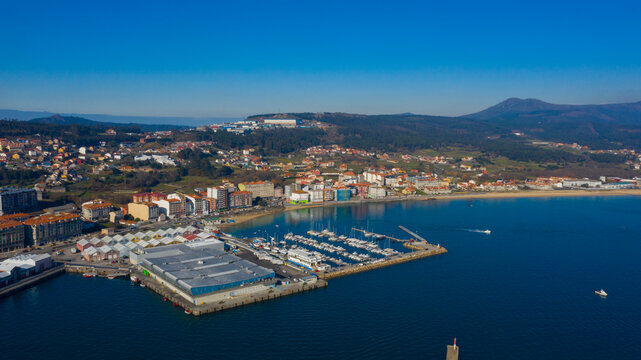 Aerial view of Riveira town in Galicia