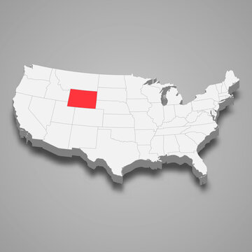 Wyoming state location within United States 3d map