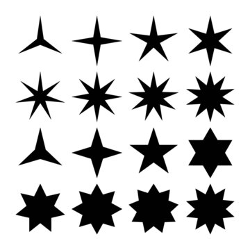 Vector set of simple black stars symbols. From three point to eight point stars icon collection