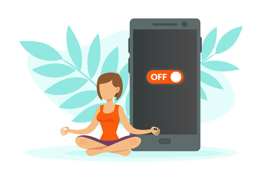 Young Woman Meditating and Relaxing with Turned off Smartphone, Digital Detox Concept Cartoon Vector Illustration